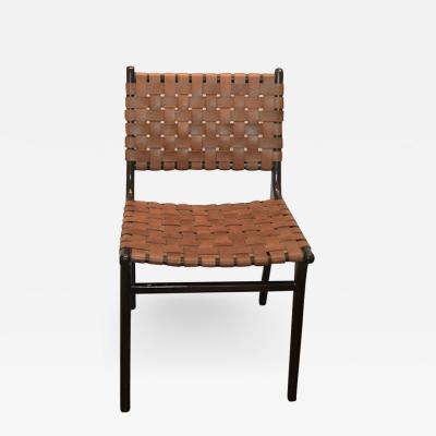Andrianna Shamaris Modern Chair Series Single Backed Leather Woven Chair