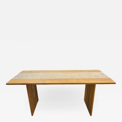 Andrianna Shamaris SHELL INLAY TEAK DINING TABLE