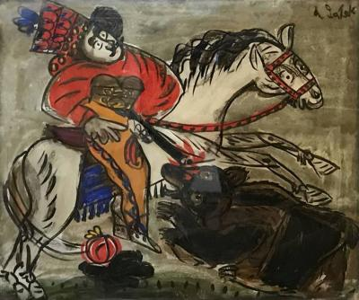 Andrzej Galek 1960s Reverse Glass Folk Art Painting Man on Horse by Andrzej Galek 2