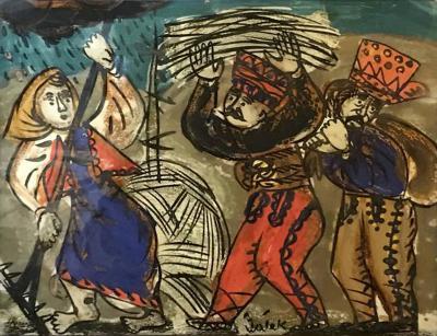 Andrzej Galek 1960s Reverse Glass Folk Art Painting by Andrzej Galek 1