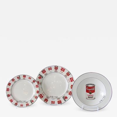 Andy Warhol Set of 24 Place Settings Andy Warhol White Campbells Soup Dinnerware