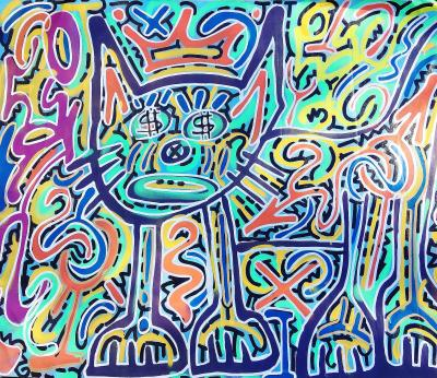 Angel Ortiz LA II Green Cat with Basquiat Crown