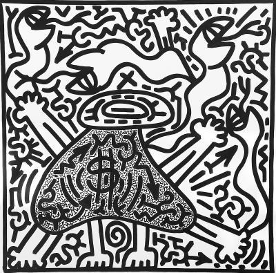 Angel Ortiz LA II Untitled Black and White Moneybags