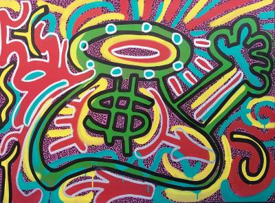 Angel Ortiz LA II Untitled Green Dollar Sign