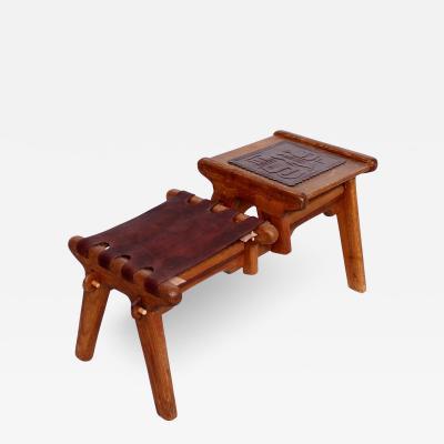 Angel Pazmino Angel Pazmino Ecuadorian Gossip Bench Tooled Leather Stool Solid Mahogany 1960s