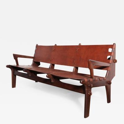Angel Pazmino Angel Pazmino Rosewood Leather Three Seat Sofa Equador 1960s