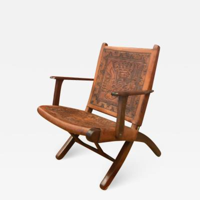 Angel Pazmino Ecuadorian embossed leather chair