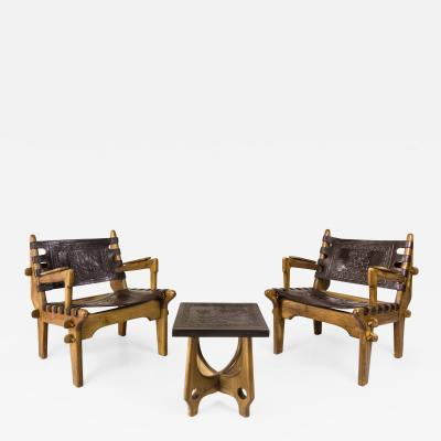 Angel Pazmino Pair of Angel Pazmino Armchairs with Side Table circa 1950 Ecuador