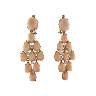 Angel Skin Coral and Diamond Gold Statement Earrings