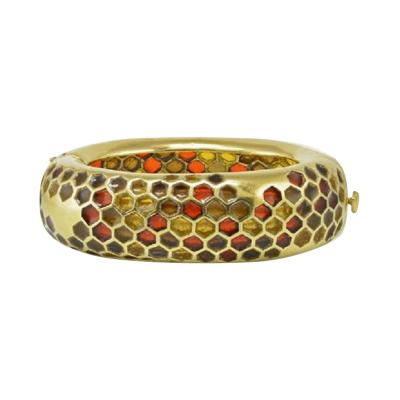 Angela Cummings ANGELA CUMMINGS 18K YELLOW GOLD PLIQUE A JOUR LARGE HONEYCOMB BANGLE BRACELET