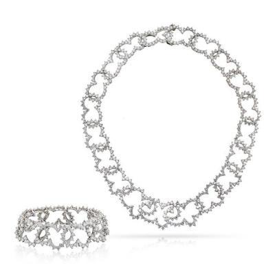 Angela Cummings ANGELA CUMMINGS PLATINUM DIAMOND CHOKER AND DIAMOND BRACELET JEWELRY SET