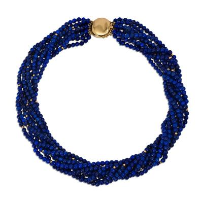 Angela Cummings Angela Cummings for Tiffany Co Multi Strand Lapis and Gold Bead Necklace