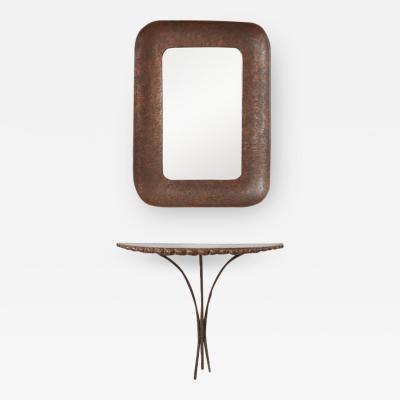 Angelo Bragalini Angelo Bragalini mirror and console set Italy 1950s