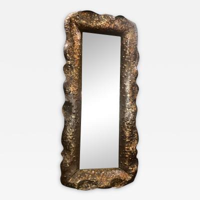 Angelo Bragalini Stunning Vintage Hammered Mirror by Bragalin in Sculpted Bronze