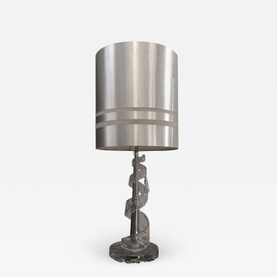 Angelo Brotto Amazing Angelo Brotto Spiral Transparent Murano Glass Table Lamp circa 1970