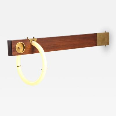 Angelo Brotto Angelo Brotto Neon Wall Light In Walnut Brass 1970s