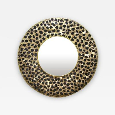 Angelo Brotto Contemporary Italian Brutalist Brass and Black Glass Modern Round Mirror