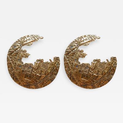 Angelo Brotto Lunar Pair of Bronze Wall Sconces by Angelo Brotto for Esperia