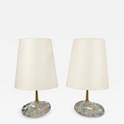 Angelo Brotto Pair of Murano Crystal Table Lamps by Angelo Brotto circa 1980 Italy
