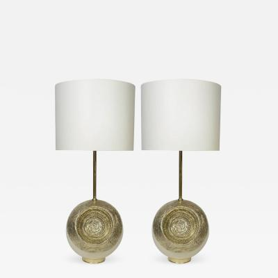 Angelo Brotto Pair of White Enameled Metal and Hammered Brass Table Lamps