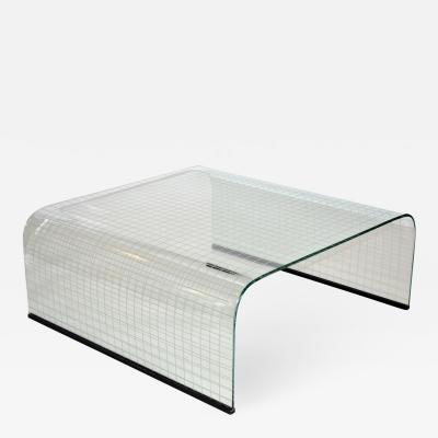 Angelo Cortesi Coffee Table in Curved Plate Glass by Fiam