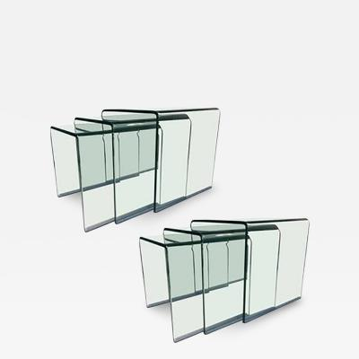 Angelo Cortesi Wonderful Pair of Curved Glass Waterfall Nesting Tables by Angelo Cortesi