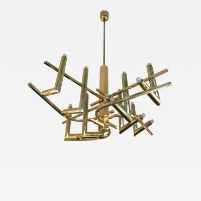 Angelo Gaetano Sciolari Brass Chandelier by Sciolari for Stilkronen Germany 1970s