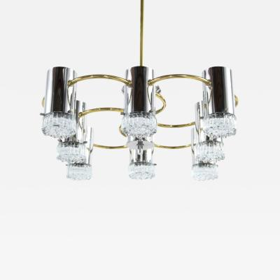 Angelo Gaetano Sciolari Chrome and Brass Chandelier by Gaetano Sciolari