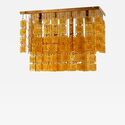 Angelo Gaetano Sciolari Mid Century Modern Sciolari Style Orange Murano Glass Flush Mount Chandelier