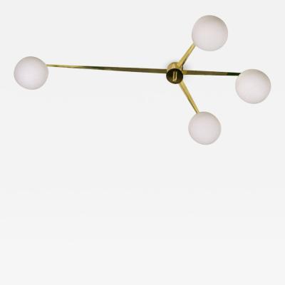 Angelo Lelii Italian Modern Brass Glass 4 Arm Chandelier Style of Angelo Lelli 1970s