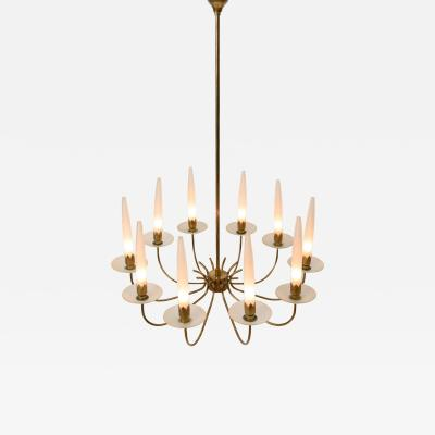 Angelo Lelii Lelli 10 Arm Brass Chandelier by Angelo Lelii for Arredoluce c 1955