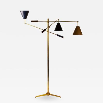 Angelo Lelii Lelli Arredoluce Triennale Brass Floor Lamp Designed by Angelo Lelii Model 12128