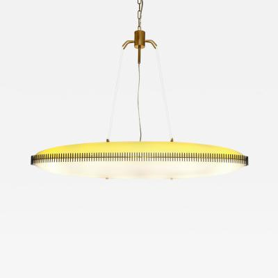 Angelo Lelii Lelli Rare yellow white oval suspension light fixture by Angelo Lelii for Arredoluce