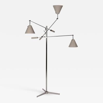 Angelo Lelii Lelli Vintage Polished Nickel Arredoluce Monza Triennale Floor Lamp with Tripod Base