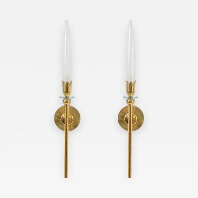 Angelo Lelii Pair of Brass and Opaline Glass Sconces