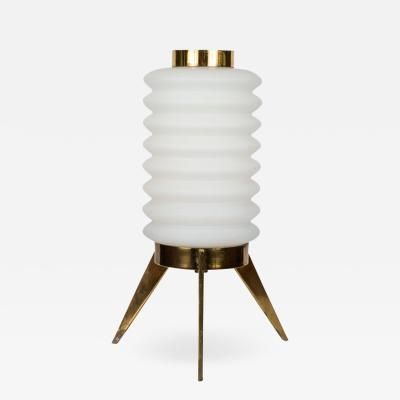 Angelo Lelli 1950s Angelo Lelli Glass and Brass Tripod Table Lamp for Arredoluce