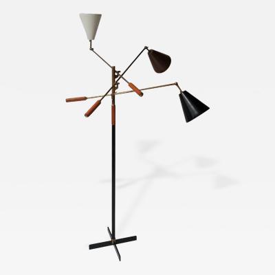 Angelo Lelli Classic Italian Arredoluce Styled Triennale Floor Lamp Brass Cognac Leather