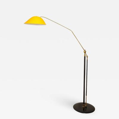 Angelo Lelli Floor Lamp with Golden Tole Shade Italy c 1950