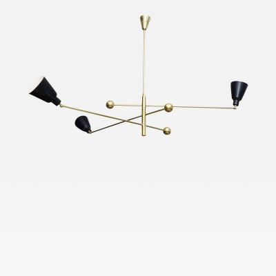 Angelo Lelli Italian Modern Brass and Enameled Three Arm Chandelier