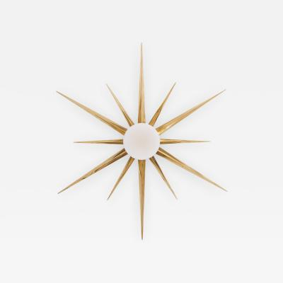 Angelo Lelli Lelii 1 of 2 Starburst Brass and Glass Flush Mount in the Manner of Angelo Lelli