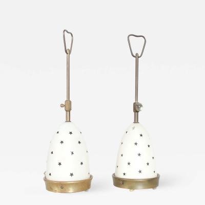 Angelo Lelli Lelii Angelo Lelli Lovely White Star Table Lamps Arredoluce Made in Monza Italy 1950s
