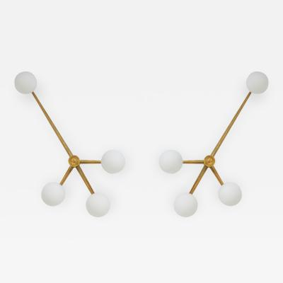 Angelo Lelli Lelii In The Style Of Angelo Lelli Opaline And Brass Pendant Lamp Wall Light Italy