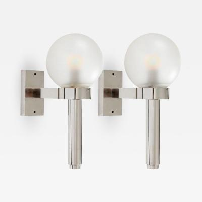 Angelo Lelli Lelii PAIR OF POLISHED NICKEL WALL LIGHTS