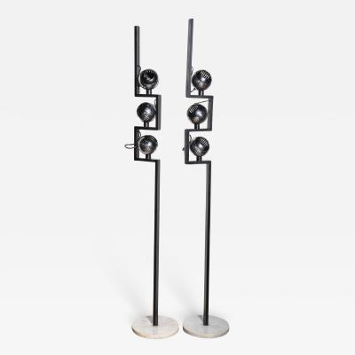 Angelo Lelli Lelii Pair of Angelo Lelli for Arredoluce Floor Lamps with Adjustable Chrome Shades
