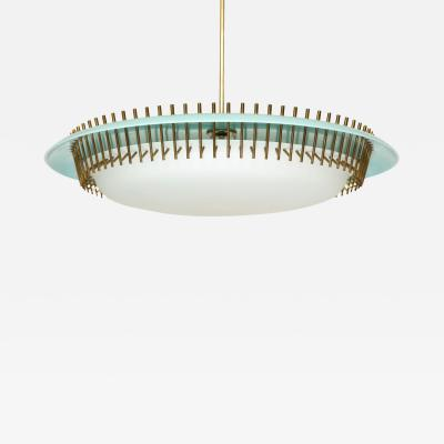 Angelo Lelli Lelii RARE ROUND SUSPENSION LIGHT FIXTURE IN BLUE BY ANGELO LELII FOR ARREDOLUCE
