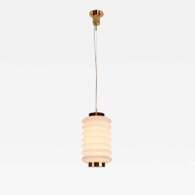 Angelo Lelli Lelii Rare 1950s Angelo Lelli Glass and Brass Suspension Lamp for Arredoluce