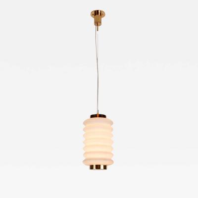 Angelo Lelli Lelii Rare 1950s Angelo Lelli Glass and Brass Suspension Lamp for Arredoluce
