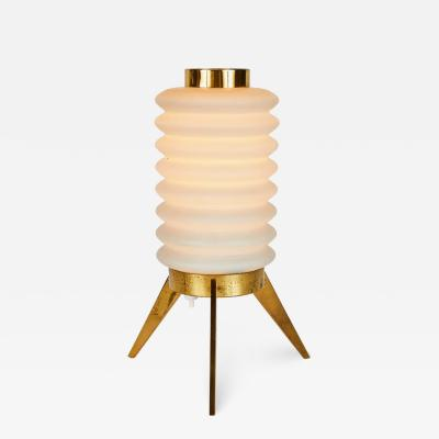 Angelo Lelli Lelii Rare 1950s Angelo Lelli Glass and Brass Tripod Table Lamp for Arredoluce
