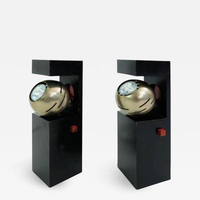 Angelo Lelli Pair of Angelo Lelii Contrast Lamps for Arredoluce