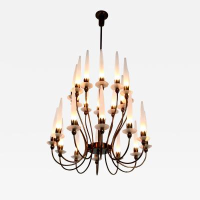 Angelo Lelli Rare 24 Light Chandelier mod 12423 by Angelo Lelli for Arredoluce Italy 1953